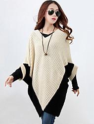 Для женщин На каждый день Очаровательный Длинный Пуловер Контрастных цветов,Бежевый V-образный вырез Длинный рукав Хлопок Осень Зима