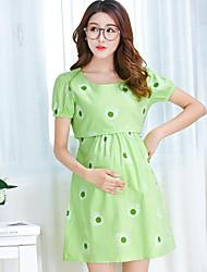 Maternidad Corte Ancho Vestido Casual/Diario Simple,Un Color Escote en Pico Sobre la rodilla Manga Corta Verde Poliéster Verano