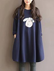 Ample Robe Grossesse Sortie / Décontracté / Quotidien / Grandes Tailles simple,Imprimé Col Arrondi Mi-long Manches Longues BleuCoton /
