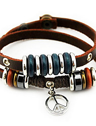 Brown Leather Wrap Bracelet with Peace