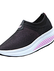 Women's Sneakers Spring / Fall Comfort Tulle Athletic / Casual Wedge Heel Slip-on Black / Blue / Pink / Red / Gray