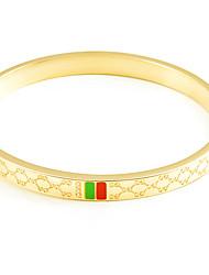 Feminino Bracelete Aço Titânio Moda Formato Oval Dourado Ouro Rose Jóias 1peça
