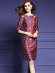 Women's Plus Size / Going out Street chic Bodycon Dress,Geometric Round Neck Above Knee ¾ Sleeve Red Polyester Fall