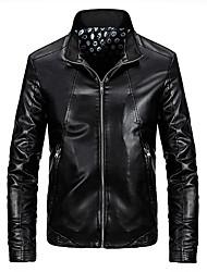 Men's Long Sleeve Casual / Work / Sport Jacket,PU Solid Black / Blue / Brown / Red