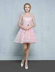 Short / Mini Lace / Satin Bridesmaid Dress - Ball Gown Scoop with Beading / Lace / Sequins