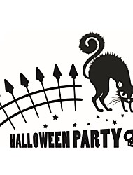 Modern Wall Art Home Decoration Removable Wall Stickers Halloween Party Terrified Cat Decorative Vinyl Decals Quote