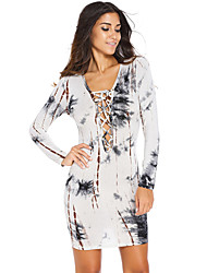 Women's Sexy Hollow Out Lace-up Printed Long Sleeve Bodycon Dress