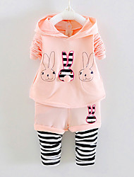FanXingBeiYiGirl's Going out Striped Blouse / Pants / Clothing Set,Cotton / Polyester Spring / Fall Pink / Gray