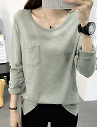 Women's Going out / Casual/Daily Cute / Street chic Fall T-shirt,Solid Round Neck Long Sleeve Pink / White / Black