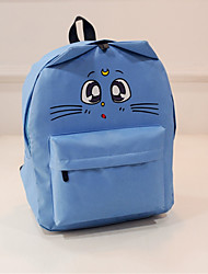 Women Canvas Cat Printing Sports Casual Outdoor Backpack School Travel Bag