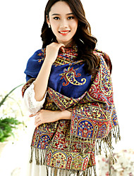 National Wind Jacquard Flower Embroidery Fringed Shawl Travel Cotton Long Warm Scarves