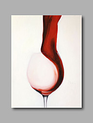 "Stretched (Ready to hang) Hand-Painted Oil Painting 36""x24"" Canvas Wall Art Modern Abstract Red Wine Cup"