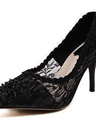 Mujer-Tacón Stiletto-Tacones-Tacones-Fiesta y Noche-Tul-Negro
