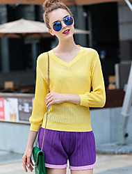 Women's Going out / Casual/Daily Simple Spring SetSolid V Neck Long Sleeve Yellow