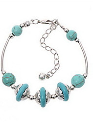 Strand Bracelets 1pc,Light Blue / Silver Bracelet Vintage Circle 514 Alloy Jewellery