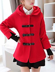 Women's Casual/Daily Street chic Coat,Solid Hooded Long Sleeve Winter Red Polyester Thick