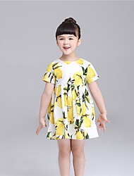 KIMOCAT Girl's Casual/Daily Print Dress,Cotton Summer Yellow