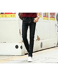 Herren Jeans-Einfarbig Freizeit Baumwolle Schwarz