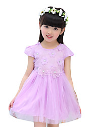 Girl's Casual/Daily Embroidered DressPolyester Summer Purple / Red / White