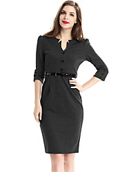 Mulheres Bainha Vestido,Casual / Trabalho / Tamanhos Grandes Moda de Rua Sólido Decote V Altura dos Joelhos Manga ¾ Azul / CinzaAlgodão /