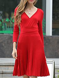 Damen Hülle Kleid-Lässig/Alltäglich Einfach Solide V-Ausschnitt Knielang Langarm Rot / Schwarz Baumwolle Herbst / Winter