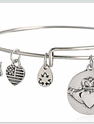 Women's Fashion Lovely Flat Pattern Silver Charm Bracelet