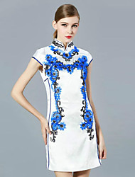 klimeda Frauen Casual / Tages chinoiserie Etuikleid, bestickte Stand oberhalb des Knies kurze Ärmel Polyester Sommer
