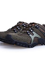 Femme-Extérieure / Sport-Marron / Vert / Gris-Talon Plat-Confort-Sneakers-Daim