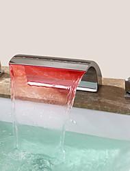 Zeitgenössisch 3-Loch-Armatur Wasserfall with  Keramisches Ventil Zwei Griffe Drei Löcher for  Chrom , Waschbecken Wasserhahn