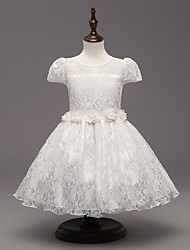 A-line Knee-length Flower Girl Dress - Lace Short Sleeve Jewel with Flower(s) / Lace