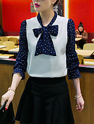 Women's Going out / Casual/Daily Cute Spring Blouse,Polka Dot Asymmetrical Long Sleeve Blue / Red Polyester Medium