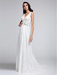 2017, uma linha de trem do laço tribunal vestido de noiva com decote em v com laço / faixa / fita