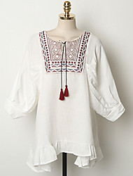 Women's Going out Cute Loose Dress,Solid Round Neck Mini Long Sleeve White Rayon Summer