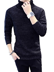 2016 new men's autumn and winter turned downneck Korean tide British leisure set head color sweater