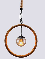 Retro Hemp Rope Glass Pendant Lights Living Room Restaurant Pendant Light
