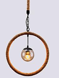 Retro Hemp Rope Glass Pendant Lights Living Room Restaurant Pendant Light