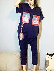 Women's Print Blue Jumpsuits,Street chic V Neck Short Sleeve