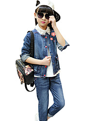 Girl's Cotton Spring/Autumn Casual Floral Embroidered Cowboy Jacket Denim Coat And Jeans Pants Two-piece Set