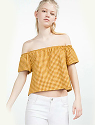 Women's Going out Cute Summer T-shirtPlaid Round Neck Short Sleeve Blue / Yellow Cotton Thin