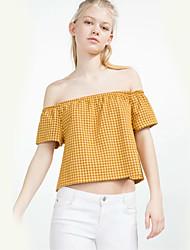 Damen Verziert Niedlich Ausgehen T-shirt,Bateau Sommer Kurzarm Blau / Gelb Baumwolle Dünn