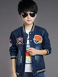 Boy's Cotton Spring/Autumn Fashion Cartoon Patchwork Cowboy Outerwear Baseball Long Sleeve Sport Denim Jacket Coat
