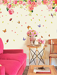Romance Rose Flower World Butterfly Background Wall Stickers Fashion Florals Living Room Bedroom Wall Decals