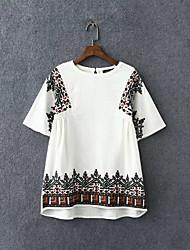 Damen Stickerei Retro Lässig/Alltäglich T-shirt,Rundhalsausschnitt Sommer Kurzarm Weiß Baumwolle Mittel