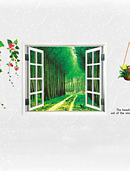 3D Forest Flower Landscape False Window 3D Wall Stickers Fashion Living Room Bathroom Kitchen Wall Decals Removable