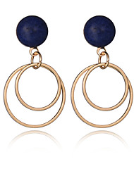 2016 Women Fashion Jewelry 18K Gold Plated Double Metal Circles Dangle Earring European Vintage Big Party Earrings