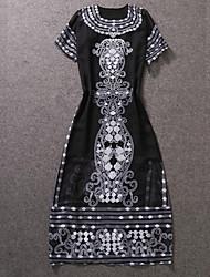 Trapèze Robe Femme Décontracté / Quotidien Chinoiserie,Imprimé Col Arrondi Maxi ½ Manches Noir Polyester Automne Taille NormaleNon