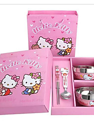 Hello Kitty Cute Creative Stainless Steel Bowl Soup Bowls Cutlery Set For Children
