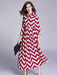 Boutique S Going out Street chic Sheath DressStriped Shirt Collar Maxi  Length Sleeve Red Cotton / Linen Summer