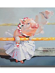 Modern Wall Art Pictures Animal Lovely Pig Oil Painting On Linen Home Decoration Abstract Painting With Frame