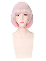 moda curto cor-de-rosa perucas cosplay sintéticas retas